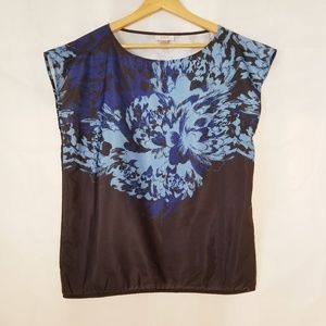 Ann Taylor Loft Floral Blouse Black Blue Medium